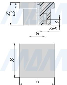 Размеры ручки-кнопки (артикул 2036.16)