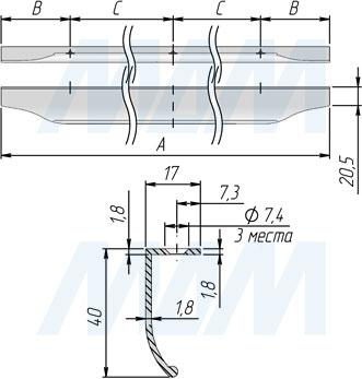 Размеры профиль-ручки 600, 800 и 900 мм (артикул 26)