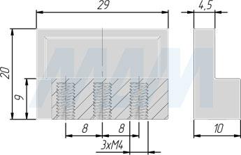 Размеры ручки-кнопки с межцентровым расстоянием 16 мм (артикул 313D)