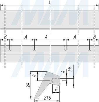 Размеры профиль-ручки (артикул 3681.1400)