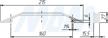 Размеры ручки-скобы (артикул 399B.160)