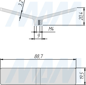 Размеры ручки-кнопки (артикул 410)