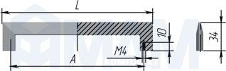 Размеры ручки-скобы HOUSE (артикул C-295)