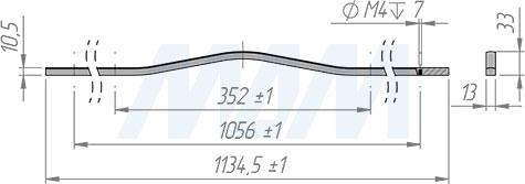 Размеры ручки-скобы APRO с межцентровым расстоянием 352 мм (артикул C-5769-1135/352)