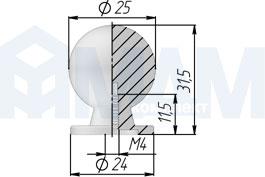 Размеры ручки-кнопки диаметром 25 мм (артикул GN32)