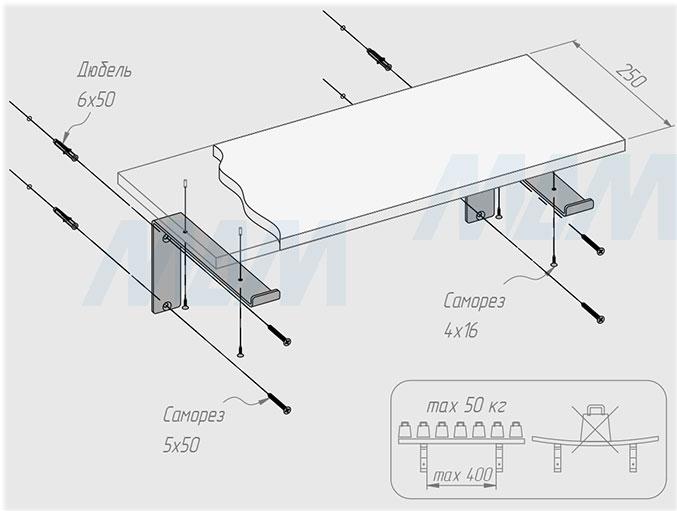 Установка менсолодержателя для деревянных полок L=250 мм (артикул LFT.000.250)