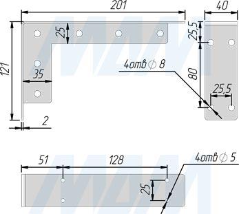 Размеры менсолодержателя для деревянных полок L=200 мм (артикул LFT.001.200)