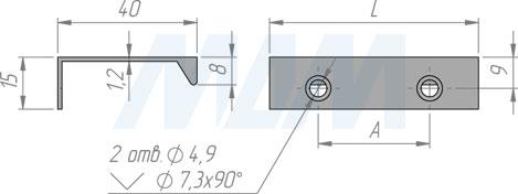 Размеры профиль-ручки с креплением саморезами (артикул PH.RU01)