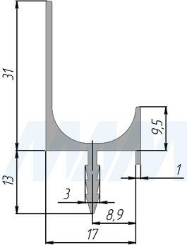 Размеры врезной профиль-ручки для фасада 16/18 мм (артикул PH.RU07)