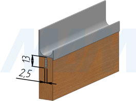 Установка врезной профиль-ручки для фасада 16/18 мм (артикул PH.RU07)