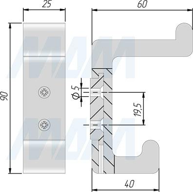 Размеры двухрожкового крючка PROFILE (артикул PRF)