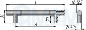 Размеры рейлинговой ручки (артикул RE.C15)