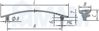 Размеры ручки-скобы (артикул WMN.634)