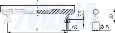 Размеры ручки-скобы (артикул WMN.765)