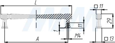 Размеры ручки-скобы (артикул WMN.775)