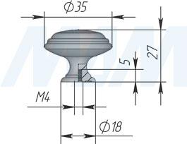 Размеры ручки-кнопки (артикул WPO.77)