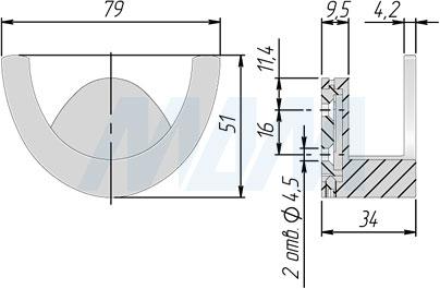 Размеры двухрожкового крючка ARTO (артикул Z-5426)