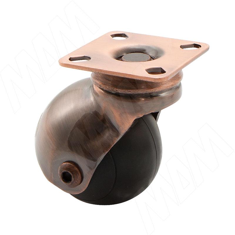 ORLANDO Опора колесная, прорезиненное колесо, D50 мм, без стопора, бронза (CST60)