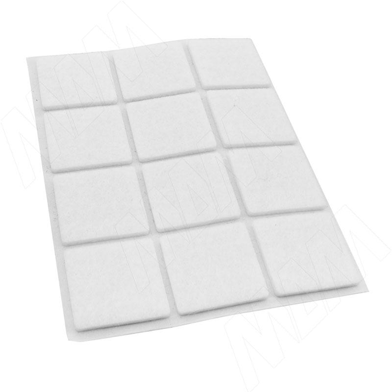 Подпятник самоклеящийся квадратный 20X20мм, белый, 40 шт. (HS2020-W)