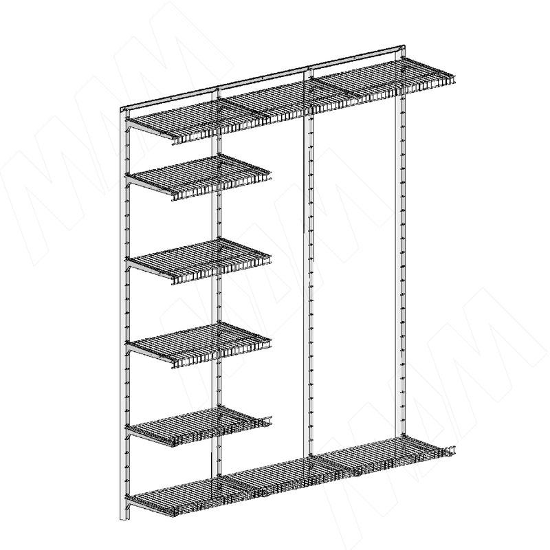 Home Space, гардероб ширина 1860мм, глубина 435 мм, 3 проема по 600 мм (HSK1860x435MT1)