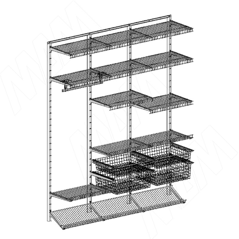 Home Space, гардероб ширина 1860мм, глубина 495 мм, 3 проема по 600 мм (HSK1860x495MT3)