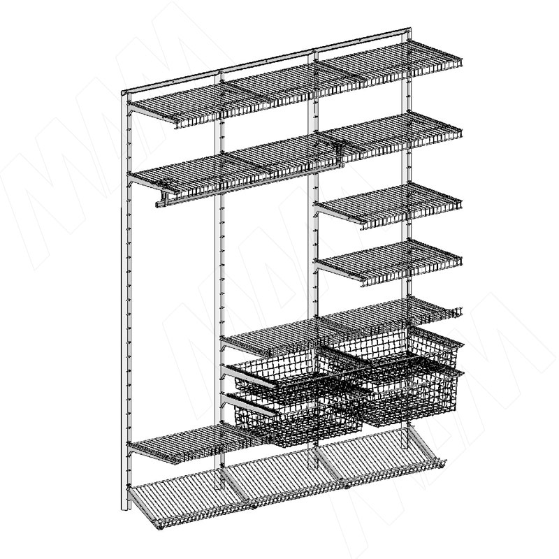 Home Space, гардероб ширина 1860мм, глубина 495 мм, 3 проема по 600 мм (HSK1860x495MT5)