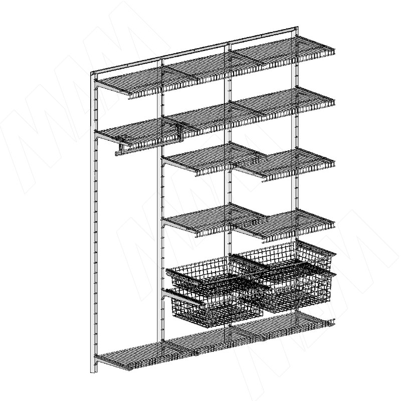 Home Space, гардероб ширина 1860мм, глубина 495 мм, 3 проема по 600 мм (HSK1860x495MT6)