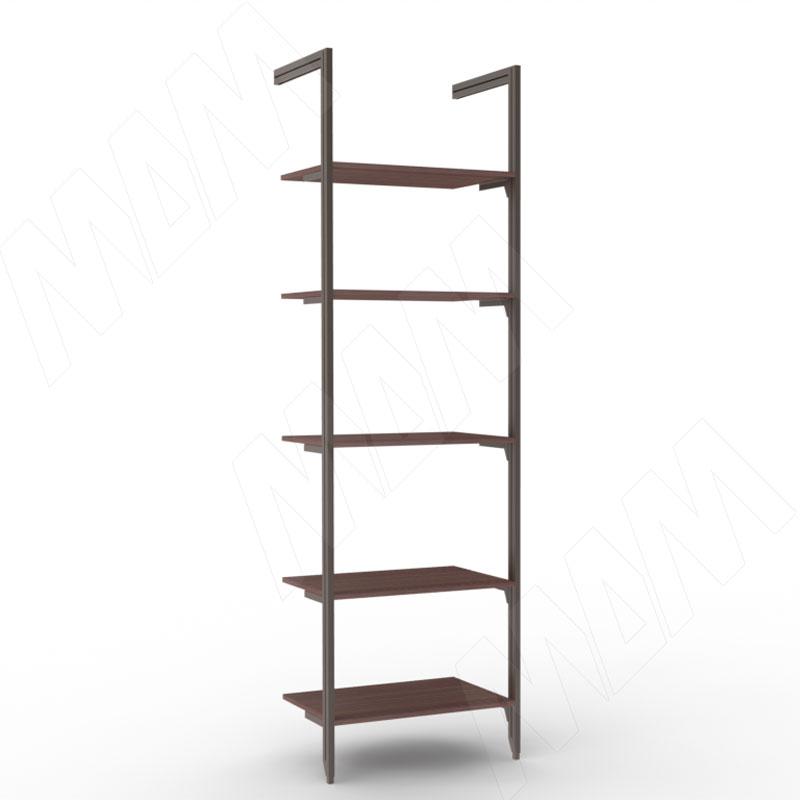 Фото - KALI, 1 секция, 2 L-образной стойки, для 5-ти деревянных полок, бронза (KL23SET1BR) kali 1 секция 2 прямые стойки узкий профиль для 2 х деревянных полок для 2 х овальных штанг бронза kl43set3br