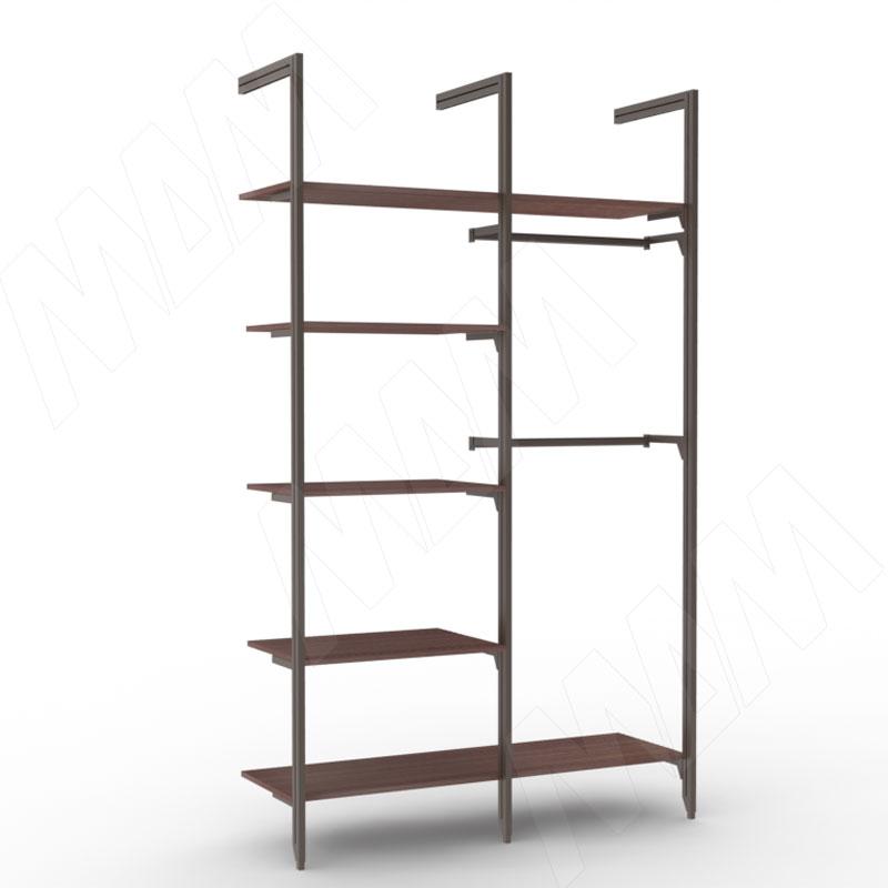 KALI, 2 секции, 3 L-образной стойки, для 5-ти деревянных полок, для 2-х овальных штанг, бронза (KL23SET2BR)