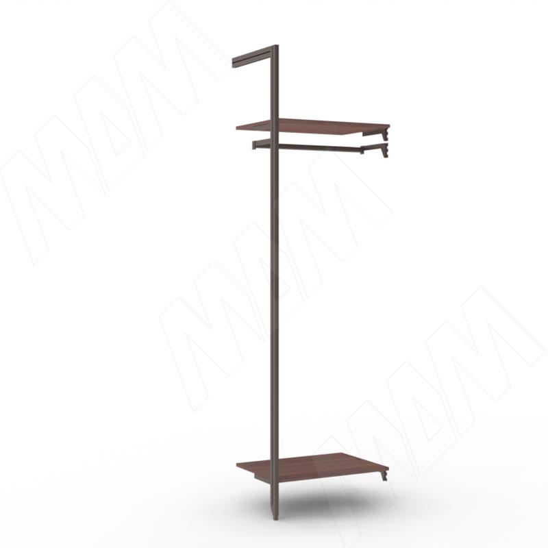 Фото - KALI, дополнительная секция, 1 L-образная стойка, для 2-х деревянных полок, для 2-х овальных штанг, бронза (KL23SET4BR) kali 1 секция 2 прямые стойки узкий профиль для 2 х деревянных полок для 2 х овальных штанг бронза kl43set3br