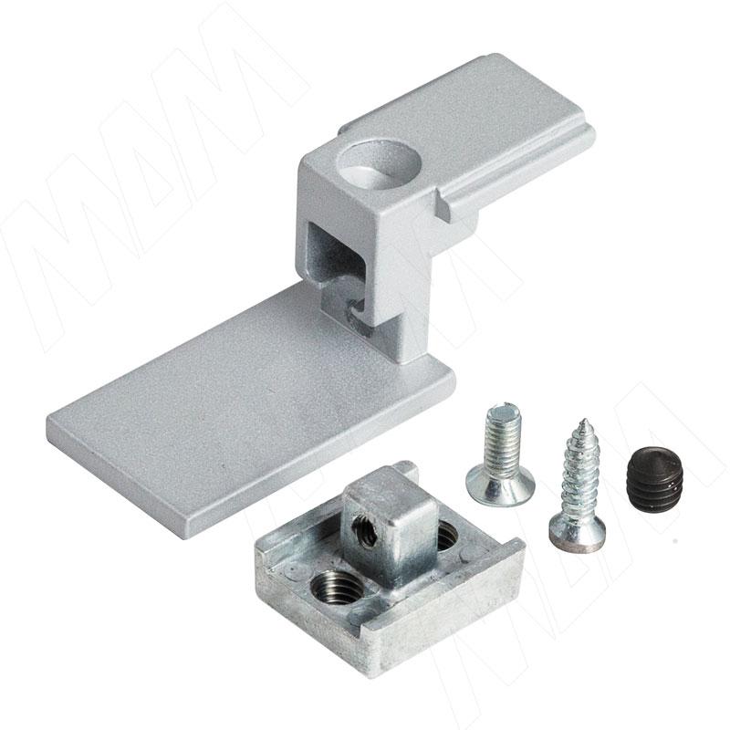 KALI коннектор для крепления профиля Т с профилями D с заглушкой, серебро (KL4315GR) kali стойка прямая с декоративной регулируемой опорой серебро kl23set9010gr