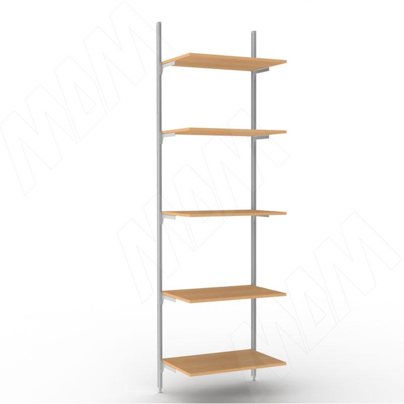 KALI, 1 секция, 2 прямые стойки, узкий профиль, для 5-ти деревянных полок, серебро (KL43SET1GR)