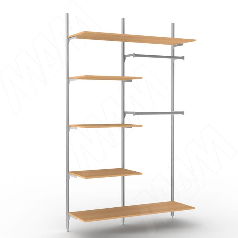 KALI, 2 секции, 3 прямых стойки, узкий профиль, для 5-ти деревянных полок, для 2-х овальных штанг, серебро (KL43SET2GR)