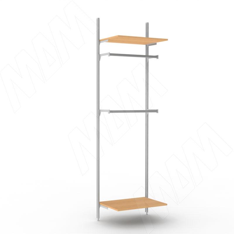 KALI, 1 секция, 2 прямые стойки, узкий профиль, для 2-х деревянных полок, для 2-х овальных штанг, серебро (KL43SET3GR)