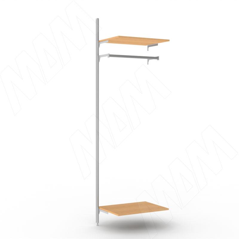 KALI, дополнительная секция, 1 прямая стойка, узкий профиль, для 2-х деревянных полок, для 2-х овальных штанг, серебро (KL43SET4GR) kali стойка прямая с декоративной регулируемой опорой серебро kl23set9010gr