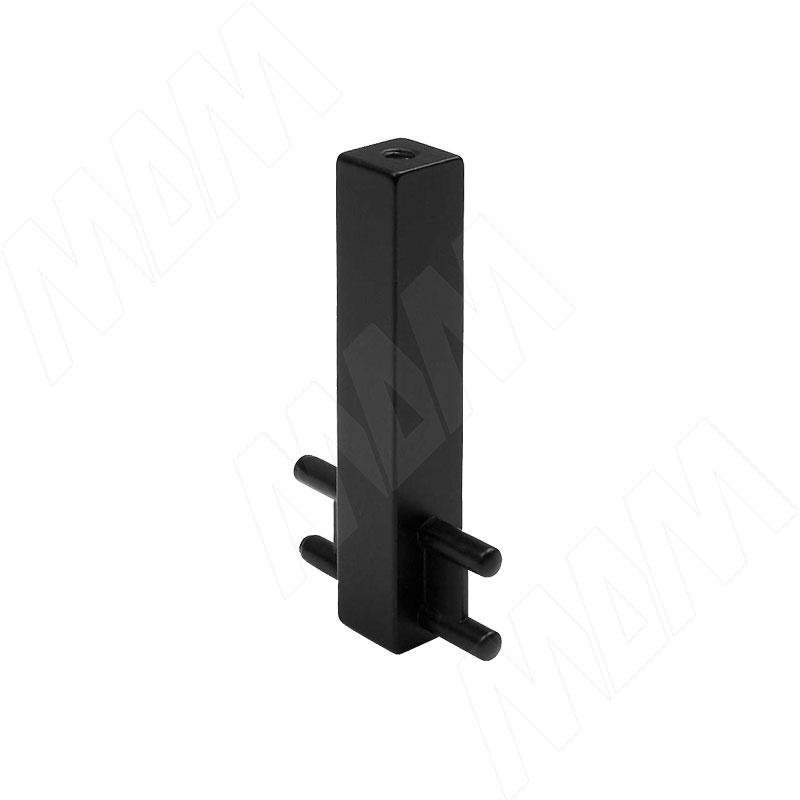 VOGUE Штангодержатель для прямоугольной штанги, центральный, черный, крепление к полке (TA0213CBL)