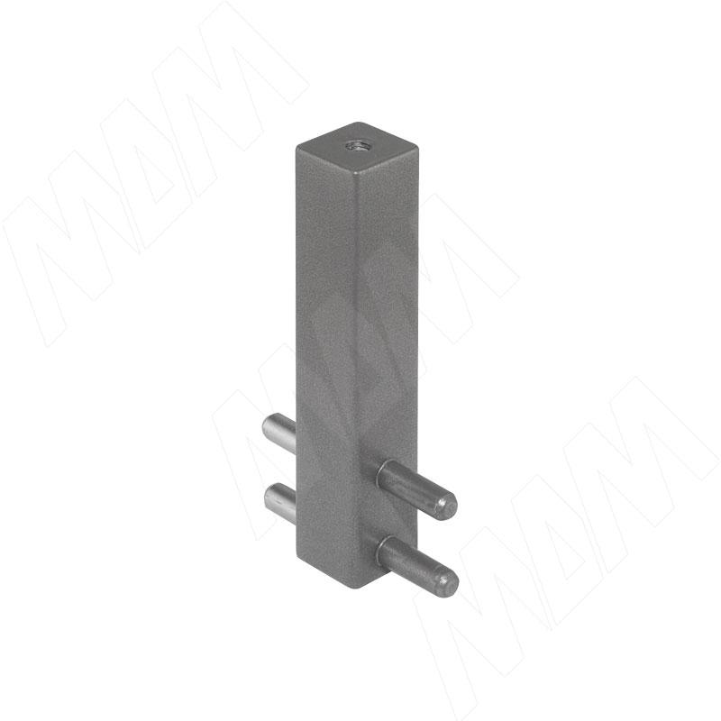 VOGUE Штангодержатель для прямоугольной штанги, центральный, серый металлик, крепление к полке (TA0213CMG)