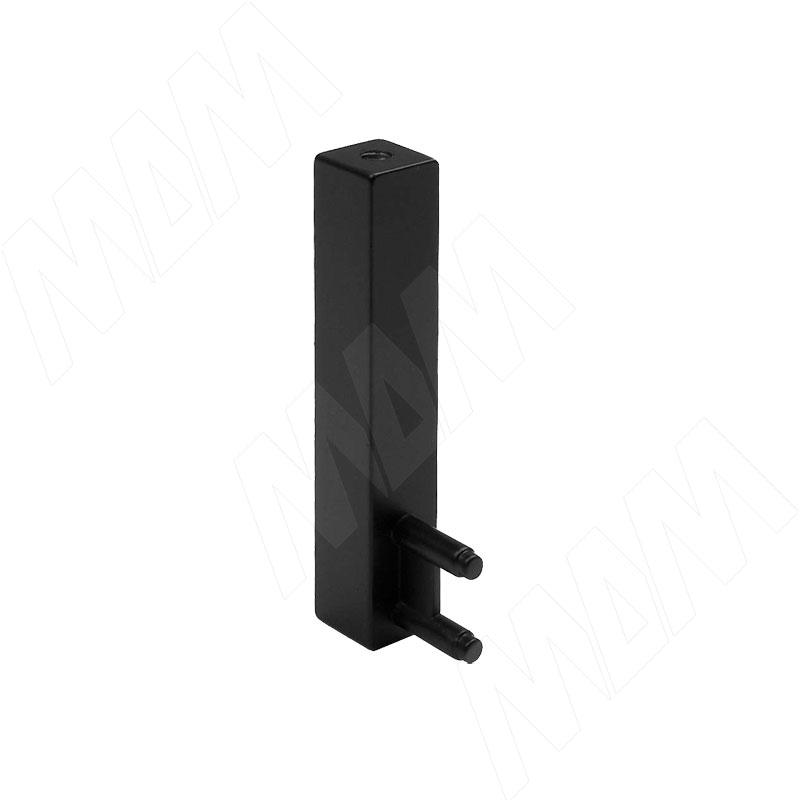 VOGUE Штангодержатель для прямоугольной штанги, торцевой, черный, крепление к полке (TA0213SBL)