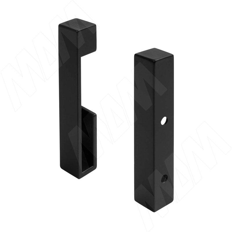 VOGUE Штангодержатель для прямоугольной штанги, торцевой, черный, крепление к стене (левый + правый) (TA0213WBL)