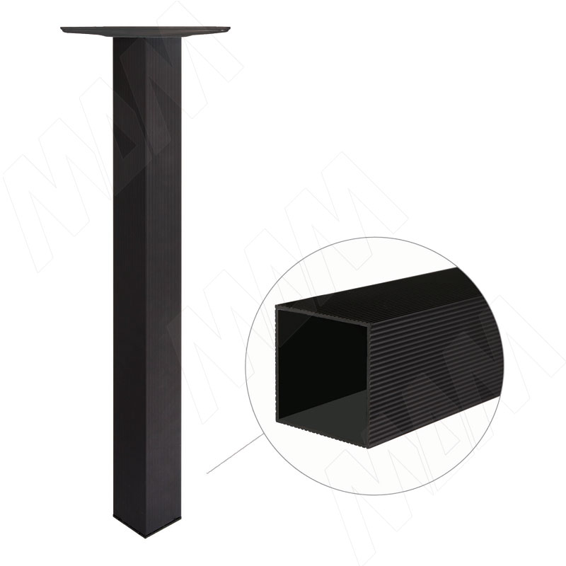 Опора для стола квадратная, 60х60 мм, H710+15 мм, черный муар, 4шт. (701.A1.02)