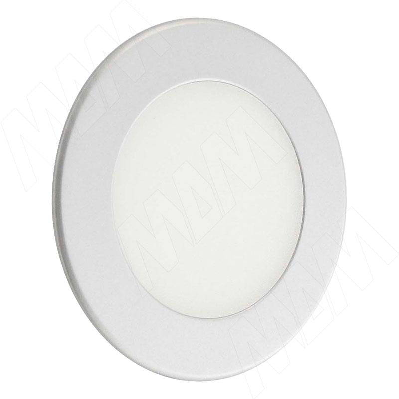 ATOM Точечный светильник круглый, серебро, 24V, нейтральный белый 4000К, 3W (AT24-RNO-ANW3) vega светодиодный светильник точечный круглый серебро 12v нейтральный белый 4500к 2 2w ve12 rno mcr nw2