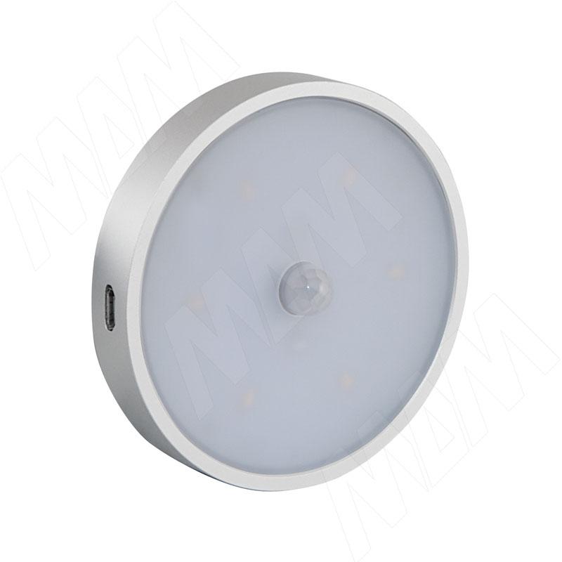 ATLAS Светодиодный светильник аккумуляторный с датчиком движения (PIR), круглый, серебро, нейтральный белый 4000К, 1W (ATLI-RPIR-NW1)