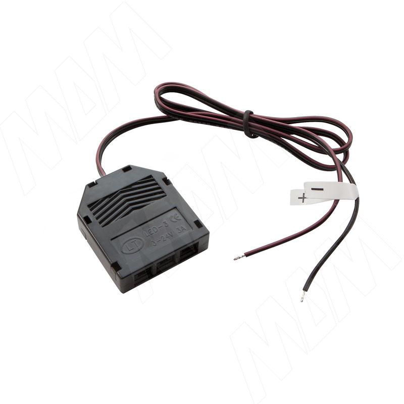 Разветвитель на 3 розетки, провода, 500 мм, 12V (DIS-LED-WR-3)
