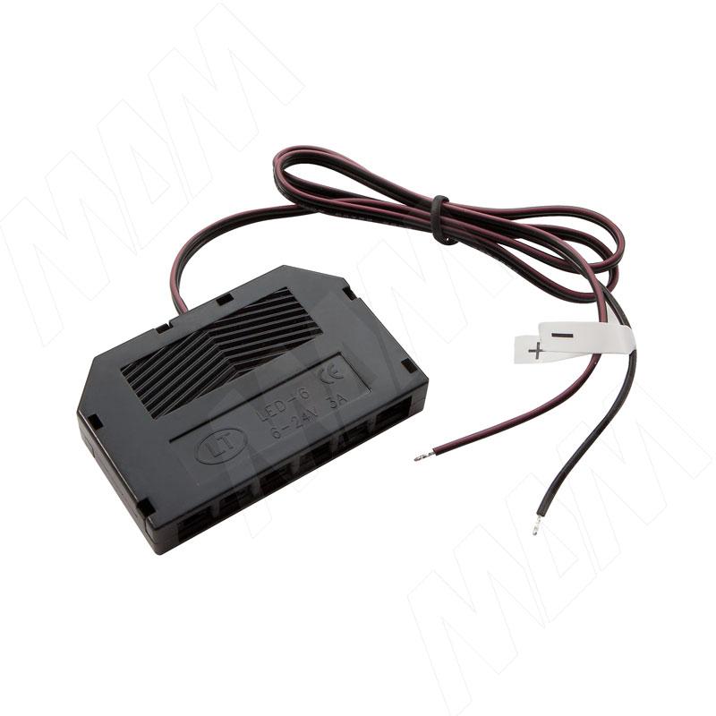 Разветвитель на 6 розеток, провода, 500 мм, 12V (DIS-LED-WR-6)