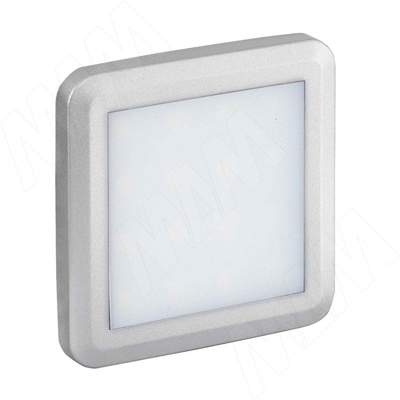 FLAT Светодиодный светильник точечный квадратный, серебро, 12V, нейтральный белый 4000К, 1.5W (FL12-QNO-MCR-NW2) vega светодиодный светильник точечный круглый серебро 12v нейтральный белый 4500к 2 2w ve12 rno mcr nw2
