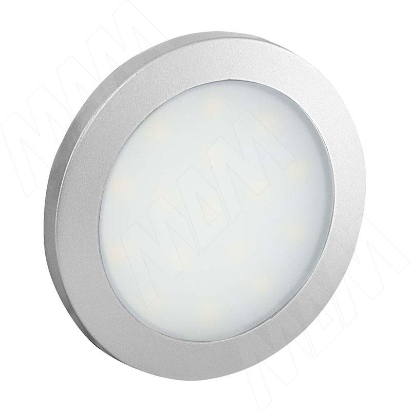 FLAT Светодиодный светильник точечный круглый, серебро, 12V, нейтральный белый 4000К, 1.5W (FL12-RNO-MCR-NW2) vega светодиодный светильник точечный круглый серебро 12v нейтральный белый 4500к 2 2w ve12 rno mcr nw2