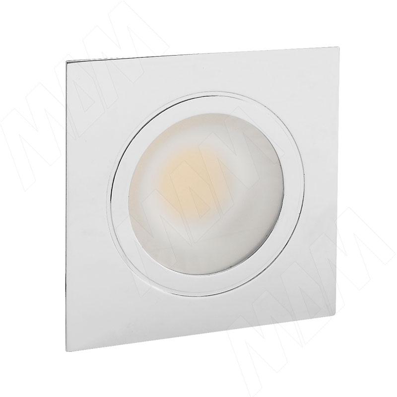LINSU Светодиодный светильник точечный квадратный, хром, 12V, нейтральный белый 4000К, 2.4W (LI12-QNO-NW3) светильник встраиваемый светодиодный feron 7вт 4000к белый 28936