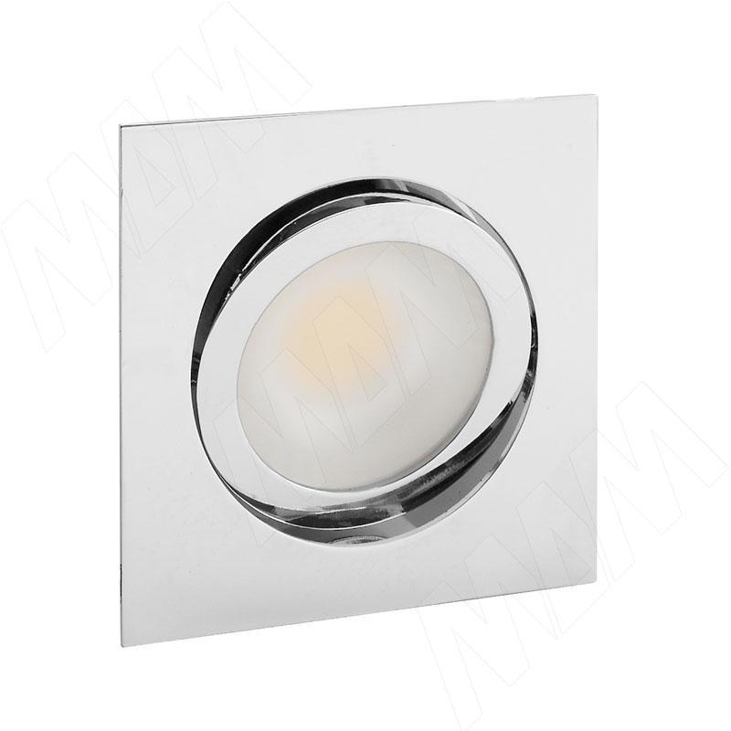 Фото - LINSU Светодиодный светильник точечный квадратный, поворотный, хром, 12V, нейтральный белый 4000К, 2.4W (LI12-QRNO-NW3) solo светодиодный светильник точечный врезной никель сатин 12v нейтральный белый 4000к 4w sl65 ns w 4 0