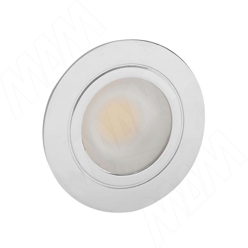 Фото - LINSU Светодиодный светильник точечный круглый, хром, 12V, нейтральный белый 4000К, 2.4W (LI12-RNO-NW3) solo светодиодный светильник точечный врезной никель сатин 12v нейтральный белый 4000к 4w sl65 ns w 4 0