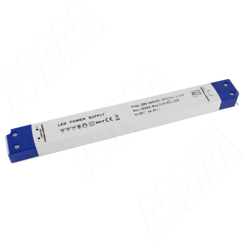 Блок питания, длинный, AC-230/DC-12V, IP31, 30W (LSA-PS12V-IP31L-30W)